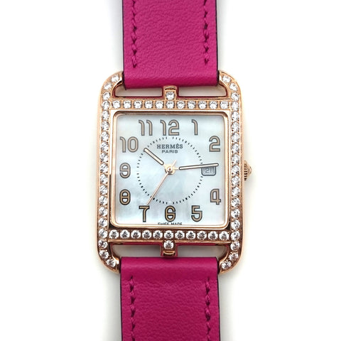 Cape Cod GM Quartz Rose Gold with Diamond Bezel on Pink Fjord Leather Strap