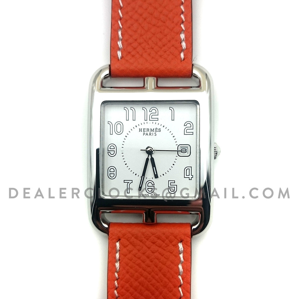 Cape Cod GM Quartz Steel on Orange Epsom Leather Strap