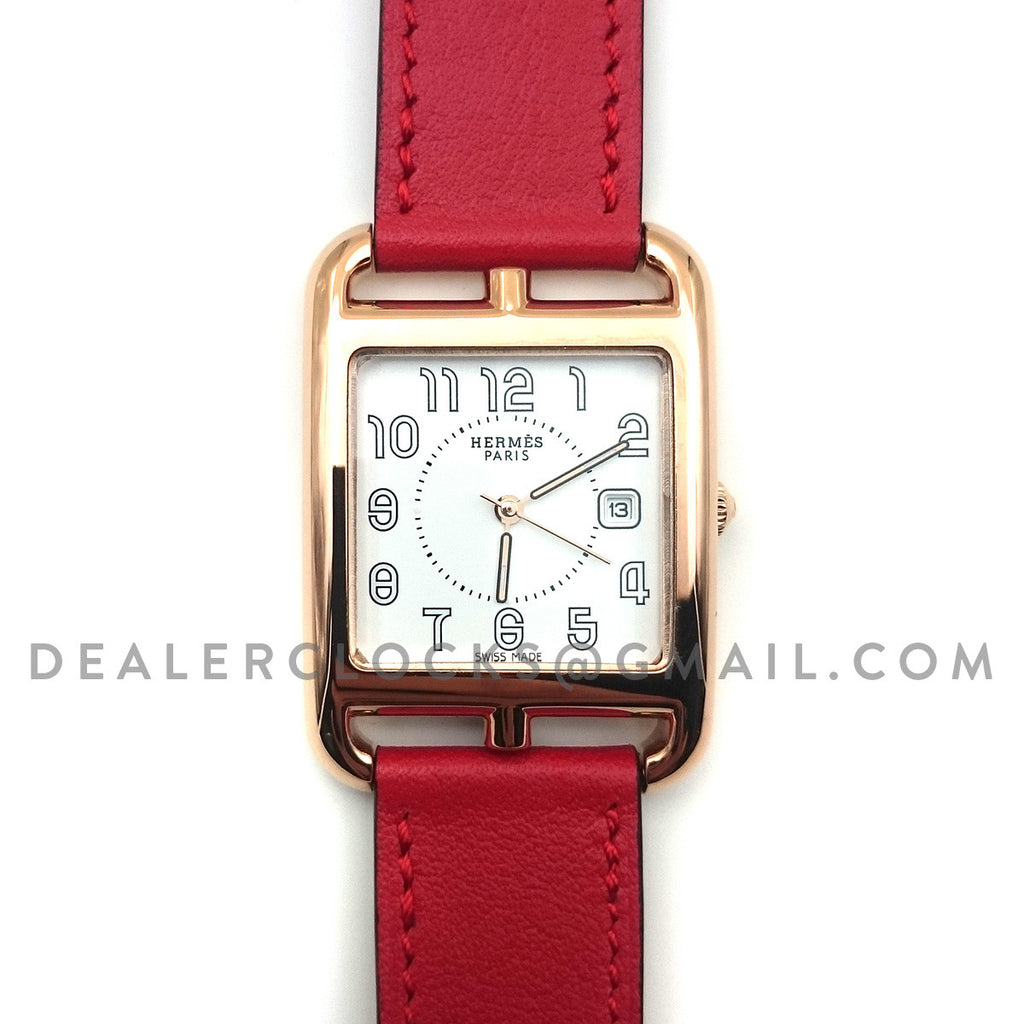 Cape Cod GM Quartz Rose Gold on Red Fjord Leather Strap