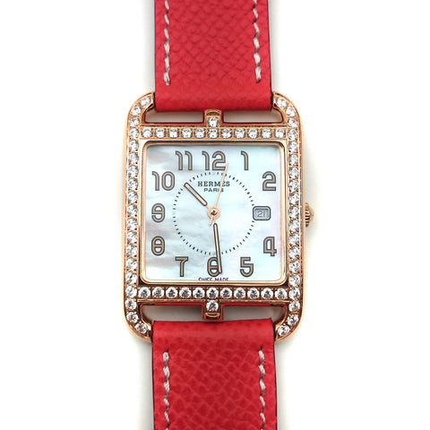 Cape Cod GM Quartz Rose Gold with Diamond Bezel on Vermilion Epsom Leather Strap
