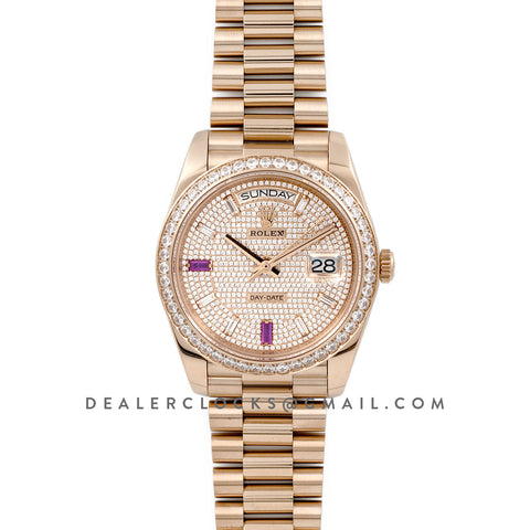 Date-Date 40 Everose Gold Diamond bezel and Paved Dial 228396