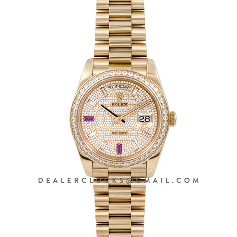 Date-Date 40 Yellow Gold Diamond bezel and Paved Dial 228396