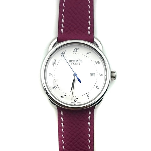 Arceau Steel on Violet Epsom Leather Strap