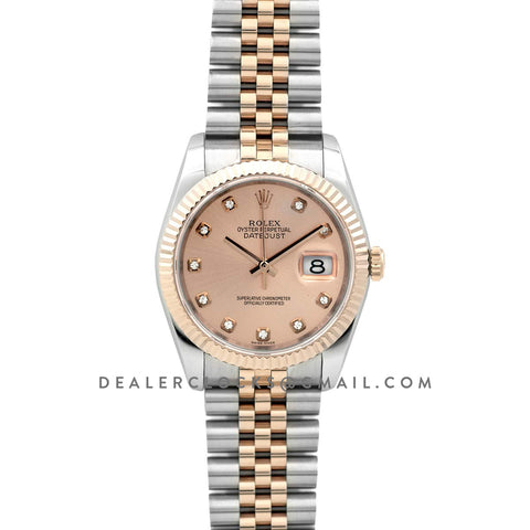 Datejust II 116333 Pink Dial in Rose Gold/Steel with Diamond Markers