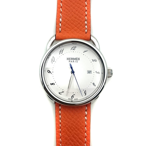 Arceau Steel on Orange Epsom Leather Strap
