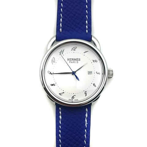 Arceau Steel on Blue Epsom Leather Strap