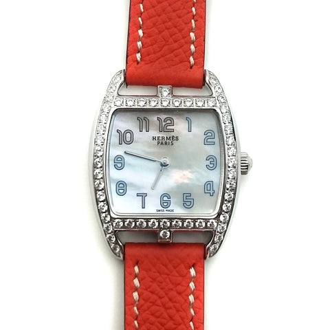 Cape Cod Tonneau Steel with Diamond Bezel on Orange Epsom Leather Strap