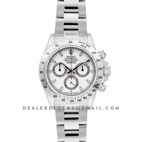 Daytona 116520 White Dial in White Gold