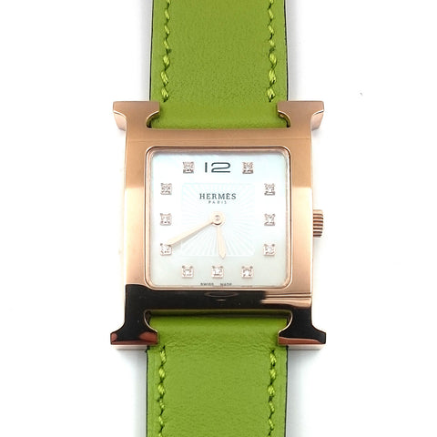 Heure H Rose Gold on Green Fjord Leather Strap