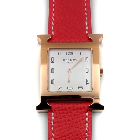 Heure H Rose Gold on Vermilion Epsom Leather Strap