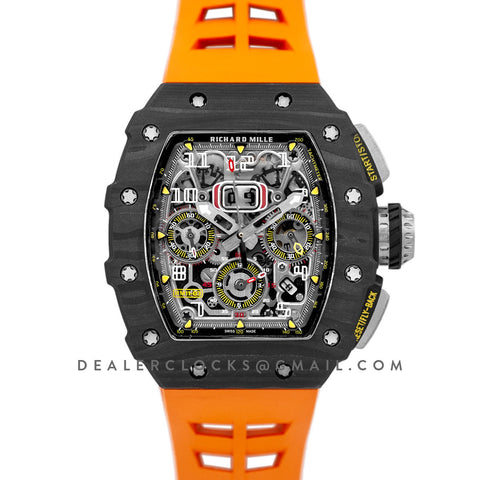 RM 011 Automatic Flyback Chronograph Carbon on Orange Rubber Strap