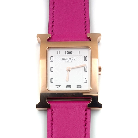 Heure H Rose Gold on Pink Fjord Leather Strap