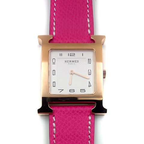 Heure H Rose Gold on Pink Epsom Leather Strap