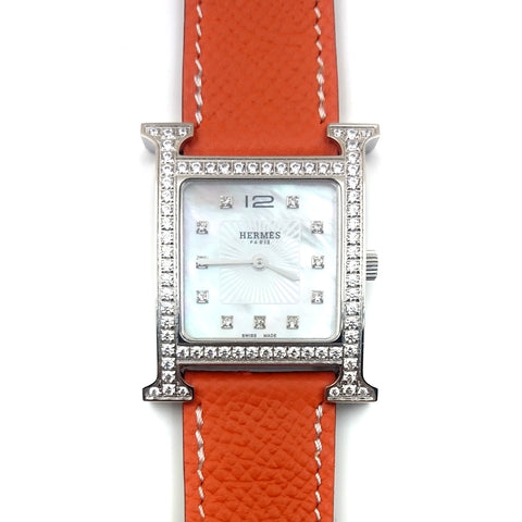 Heure H Steel with Diamond Bezel and Markers on Orange Epsom Leather Strap