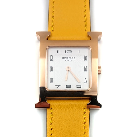 Heure H Rose Gold on Yellow Fjord Leather Strap