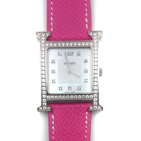 Heure H Steel with Diamond Bezel and Markers on Pink Epsom Leather Strap