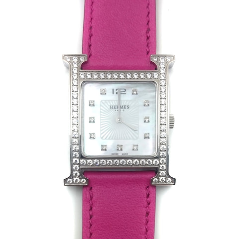 Heure H Steel with Diamond Bezel and Markers on Pink Fjord Leather Strap