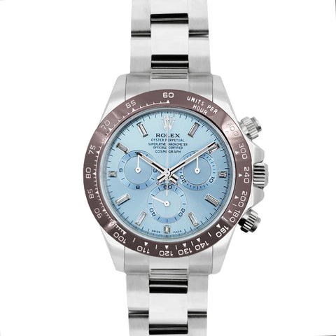 Daytona 116506 Platinum Ice Blue Dial with Diamond Markers