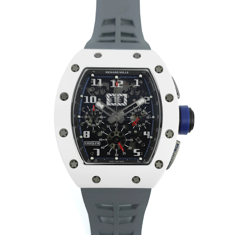 RM 011 Saint Tropez Polo Club White ATZ Ceramic and Titanium on Grey Rubber Strap