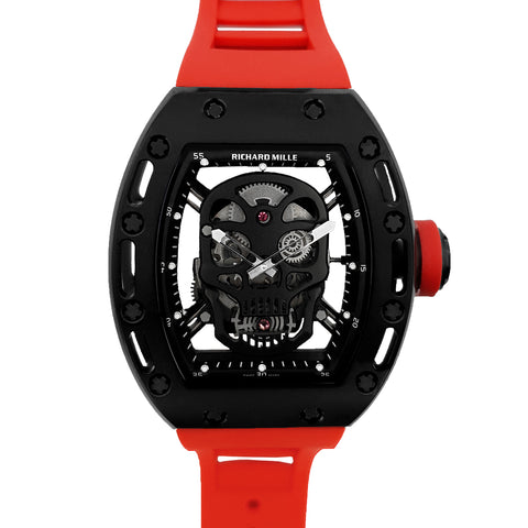 RM 052-01 Tourbillon Black Skull in PVD on Red Rubber Strap