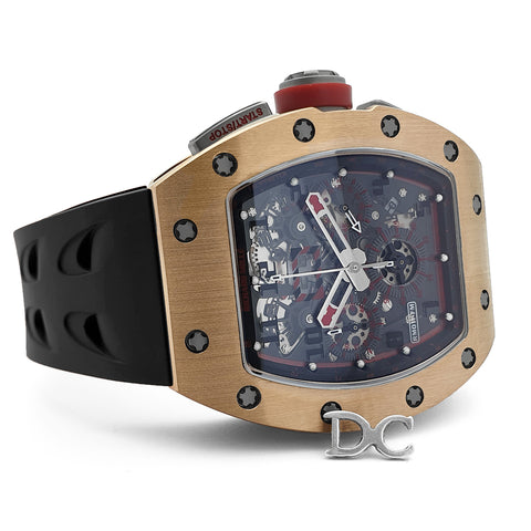 RM 011 Automatic Flyback Chronograph in Rose Gold / Titanium on Black Rubber