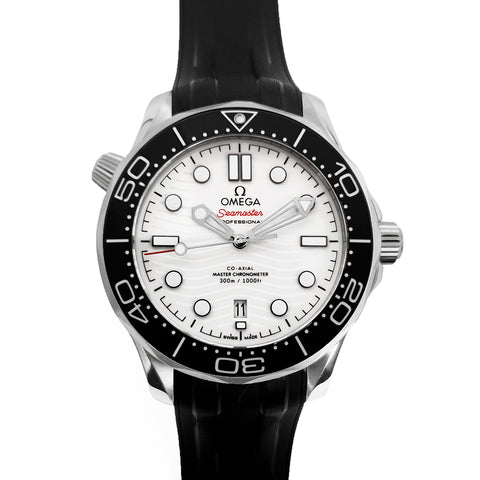 Seamaster Diver 300M Co-Axial Master Chronometer White Dial on Black Rubber Strap