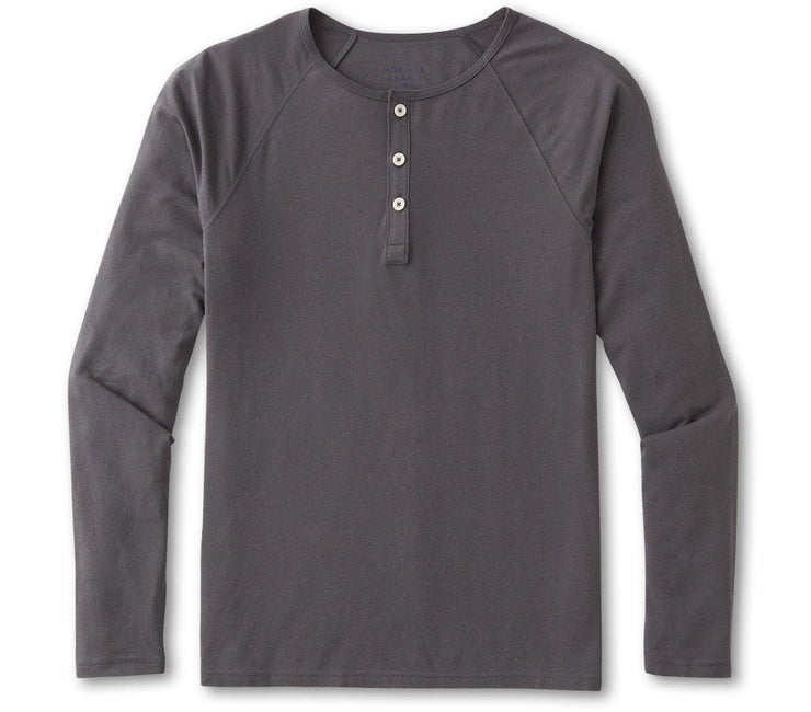 Active Puremeso Long Sleeve Henley - Steel Tops The Normal Brand Steel S