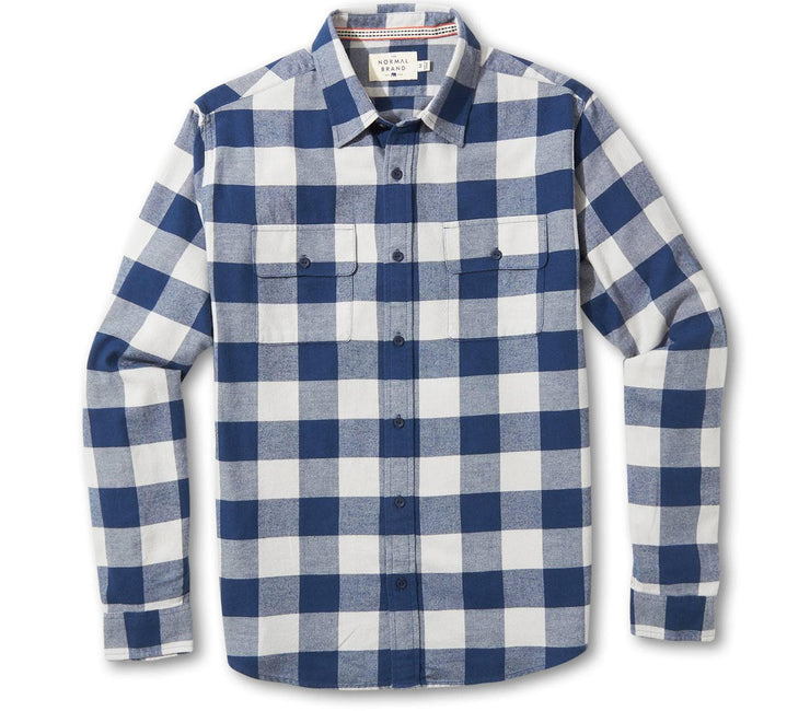 Conrad Flannel - Navy Plaid Tops The Normal Brand Navy Plaid S