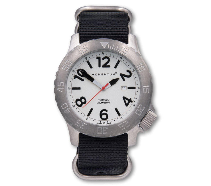 Torpedo Dive Watch [44MM] - Black Nato Band Accessories Momentum White/Black