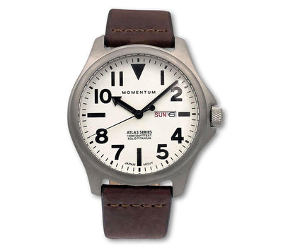 The Atlas Watch [44MM] - Brown Leather Band Accessories Momentum White/Brown