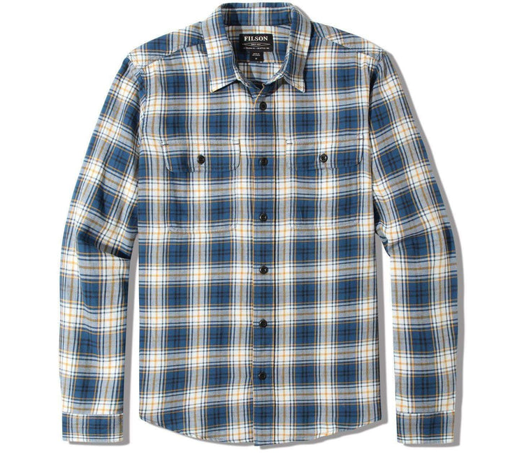 Scout Flannel Shirt Tops Filson Blue/Gold/White Plaid M