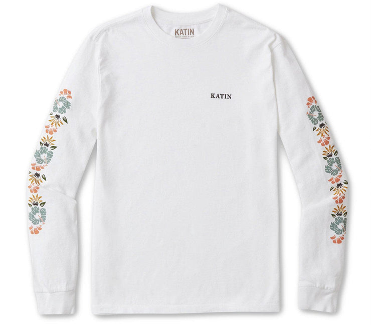 Lei'd Long Sleeve Tee - White Tops Katin White S
