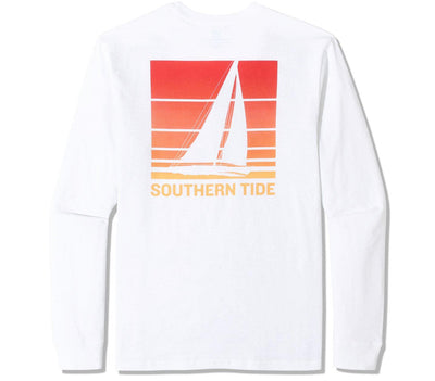 Sunset Sailing Long Sleeve Tee Tops Southern Tide Classic White S