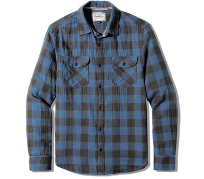 Belhaven Flannel - Blue Black Plaid Tops Flag & Anthem Blue Black Plaid S