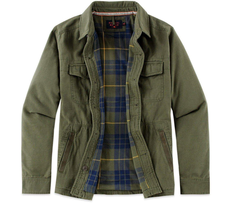 Flannel Lined Shirt Jacket - Military CPO Outerwear The Normal Brand Green CPO M