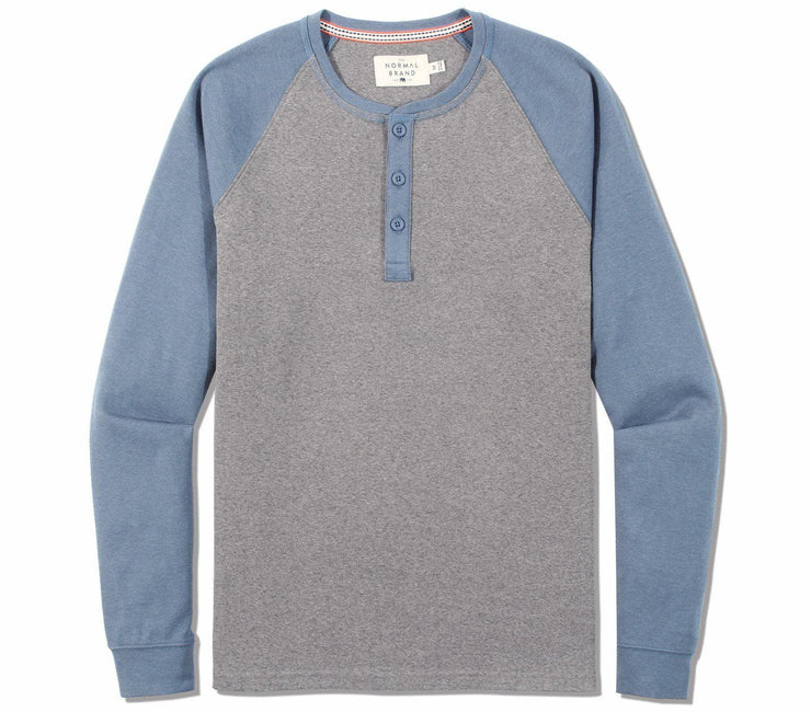 Retro Puremeso Long Sleeve Henley Tops The Normal Brand Grey/Blue S