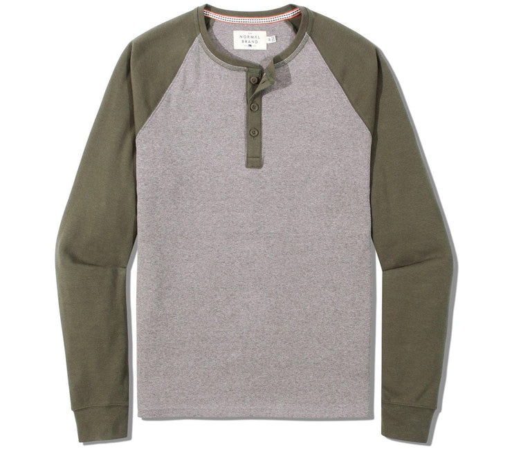Retro Puremeso Long Sleeve Henley Tops The Normal Brand Grey/Green S