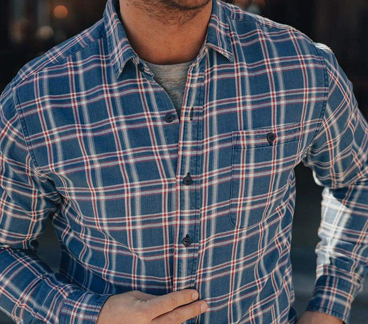 Jackson Button-Up Shirt - Blue Plaid Tops The Normal Brand