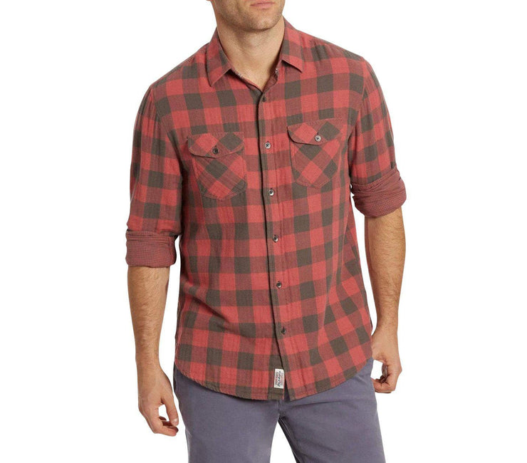 Belhaven Double Layer Flannel - Red Black Plaid Tops Flag & Anthem