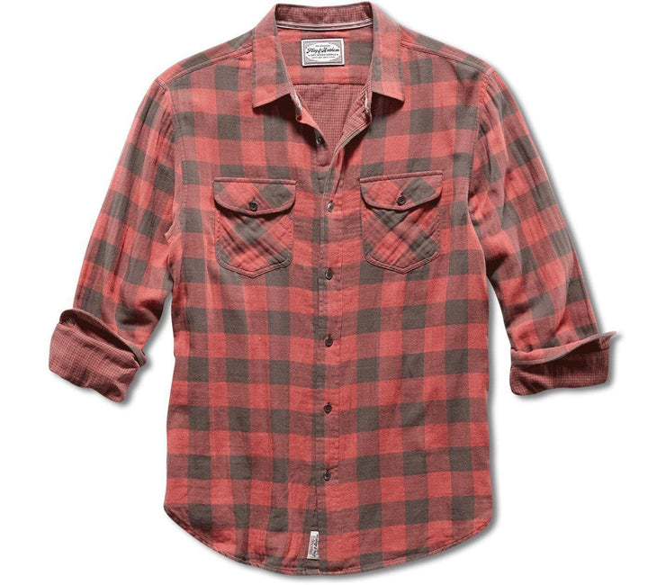 Belhaven Double Layer Flannel - Red Black Plaid Tops Flag & Anthem Red Black Plaid S