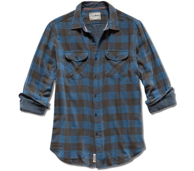 Belhaven Double Layer Flannel - Blue Black Plaid Tops Flag & Anthem Blue Black Plaid S