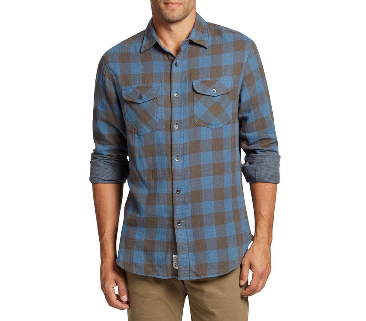 Belhaven Double Layer Flannel - Blue Black Plaid Tops Flag & Anthem