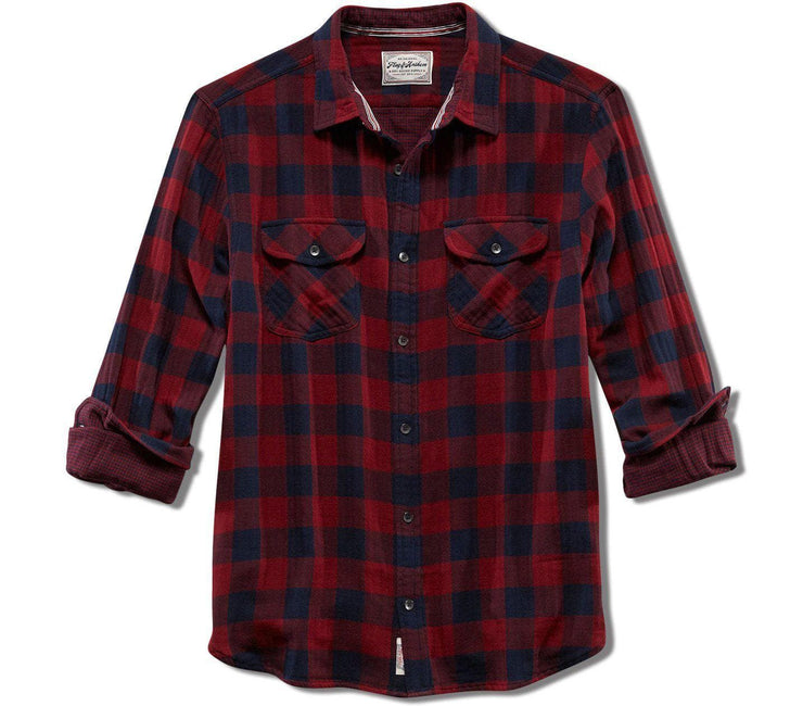 Belhaven Double Layer Flannel - Maroon Navy Plaid Tops Flag & Anthem Maroon Navy Plaid S