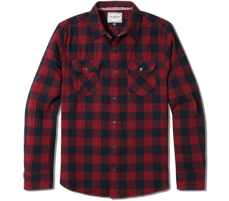 Belhaven Flannel - Maroon Navy Plaid Tops Flag & Anthem Maroon Navy Plaid S