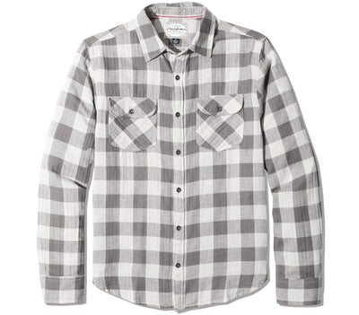 Belhaven Double Layer Flannel - White Gray Plaid Tops Flag & Anthem White Gray Plaid S