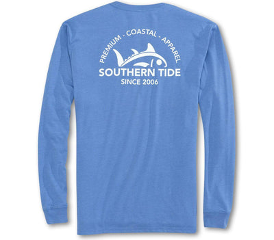 Rising Skipjack Long Sleeve Tee - Heather Blue Tops Southern Tide Heather Blue S