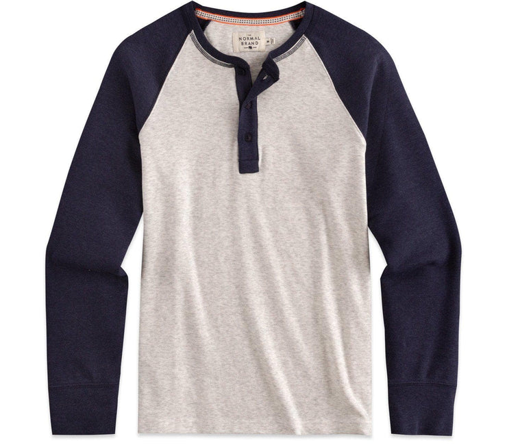 Retro Puremeso Henley Longsleeve Tops The Normal Brand Stone Navy Sleeves S