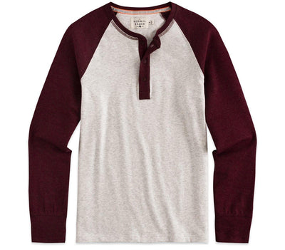 Retro Puremeso Henley Longsleeve Tops The Normal Brand Stone Wine Sleeves S