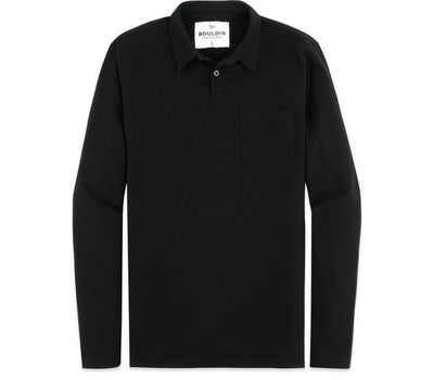 Supima Long Sleeve Pocket Polo - Black Nova Tops BOULDIN Black Nova S