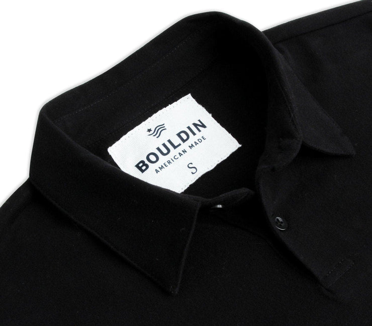 Supima Long Sleeve Pocket Polo - Black Nova Tops BOULDIN